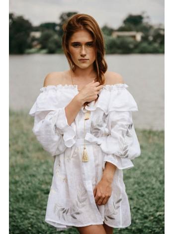 Чарівна лляна сукня, біла