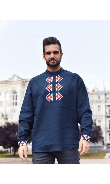 Чоловіча вишиванка темно-синя з вишивкою