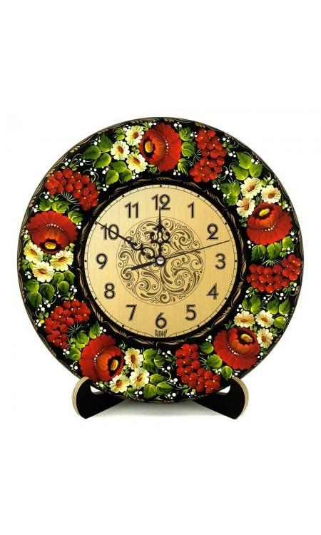 Годинник розписний з квітковим візерунком