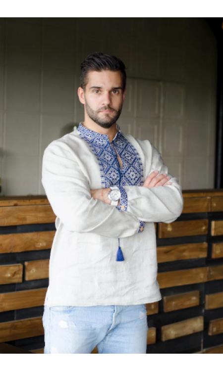 Чоловіча вишиванка сіра з синьою вишивкою
