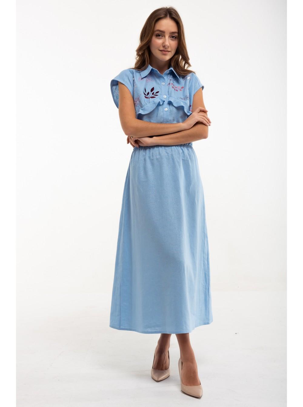 7e410631c732fb Сукня вишита Суцвіття блакитна - etno-vyshyvanka.com