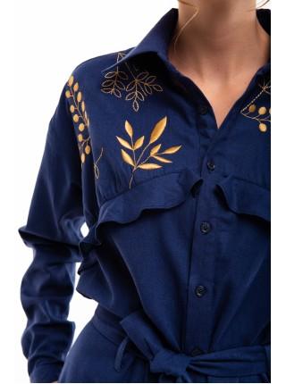 Комбінезон з вишивкою Суцвіття темно-синій