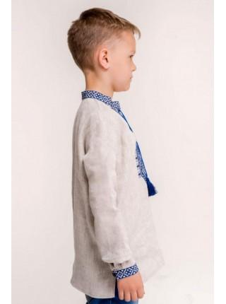 Хлопчача вишиванка  з синьою вишивкою