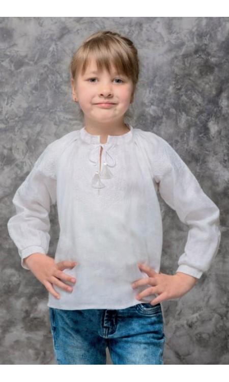 Вишиванка для дівчинки біла по білому
