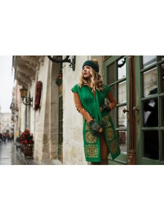 Кардиган зелений з етно–вишивкою