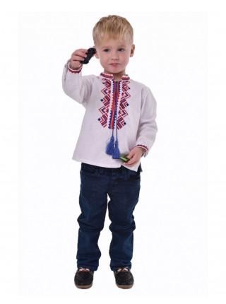 Вишиванка для хлопчика з синьо-червоною вишивкою