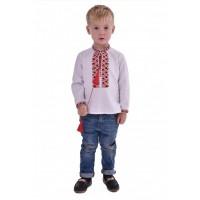 Вишиванка для хлопчика з червоно чорною вишивкою