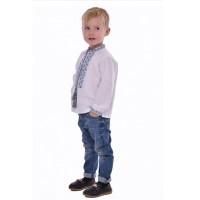 Вишиванка для хлопчика з блакитного і сірого кольорів у вишивці