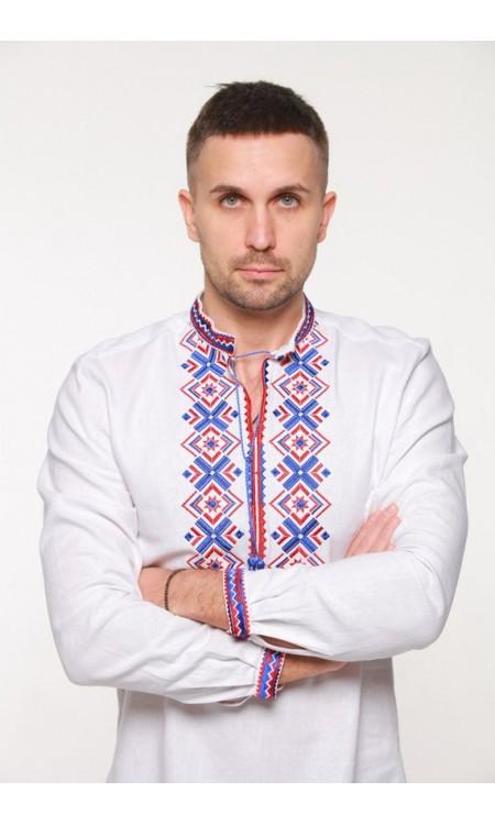 Чоловіча вишиванка з вишивкою синьо-червоним кольором