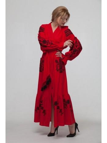 """Вишита сукня """"Східний сад"""" червона"""