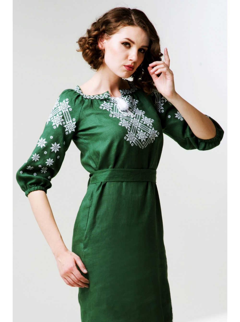 Зелена лляна сукня 3d3d2a82642d7