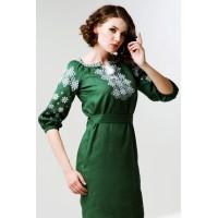 Лляна сукня вишита, зелена
