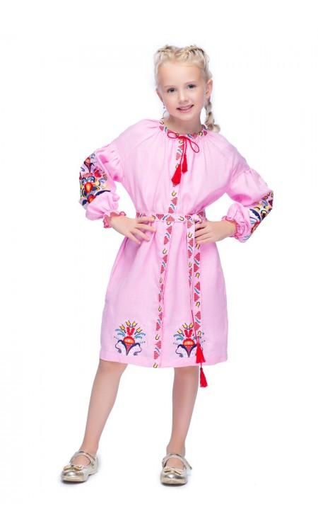 Вишита сукня для дівчинки, Півники рожева