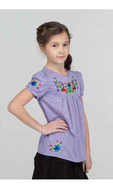 Туніка-Вишиванка для дівчинки, фіолетова