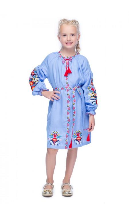 Вишита сукня для дівчинки, Півники голуба