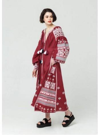 Лляна сукня, довга червона