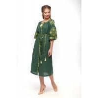 Лляна сукня, зелена з жовтою вишивкою