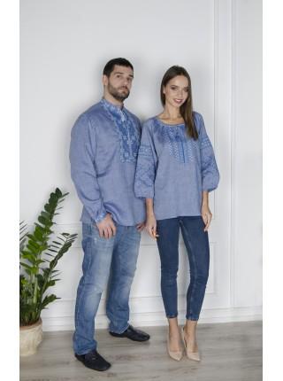 Жіноча вишиванка на льоні, синій джинс