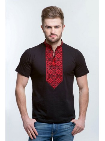 Чоловіча вишита футболка чорного кольору з вишивкою червоними нитками