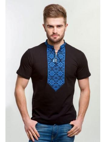 Чоловіча вишита футболка чорного кольору з вишивкою