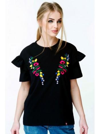 Жіноча вишита футболка чорна
