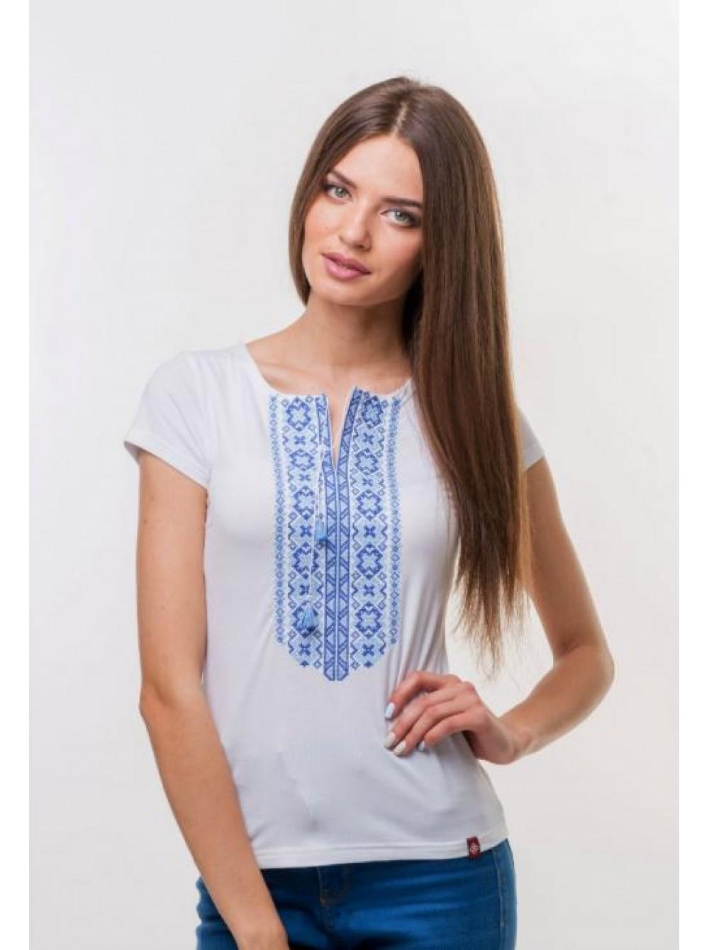 Жіноча вишита футболка біла з синьою вишивкою fd1be977edf31