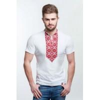 Чоловіча вишита футболка вишивкою червоними нитками