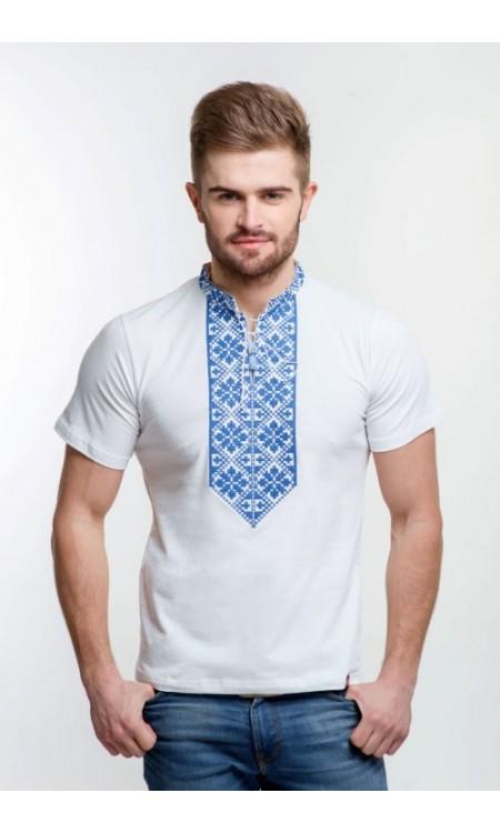 Чоловіча вишита футболка білого кольору з вишивкою синіми нитками