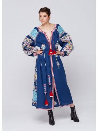 Синя лляна сукня, довга