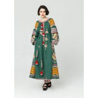 Зелена лляна сукня, довга