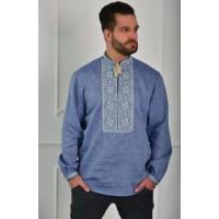 Men's embroidered denim color