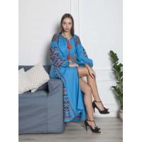 Синя лляна сукня, довга з помаранчевим орнаментом