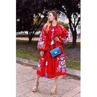 Червона лляна вишита сукня з клинами Дерево життя, Бохо