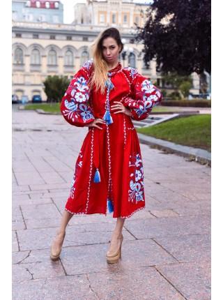 Червона лляна сукня з клинами, Бохо