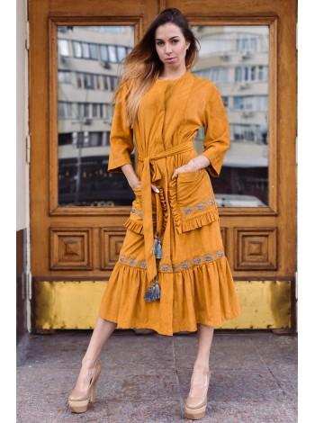 Тренч - сукня, вишиті Колоски, охра
