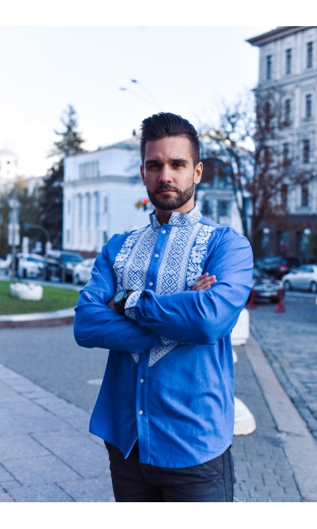 Чоловіча вишиванка, синя лляна