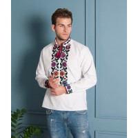 Men's embroidered with floral embroidery white