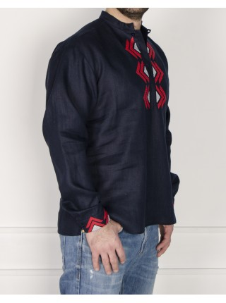 Чоловіча вишиванка темно-синя з червоною вишивкою