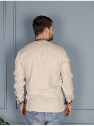 Біла чоловіча вишиванка з натурального льону