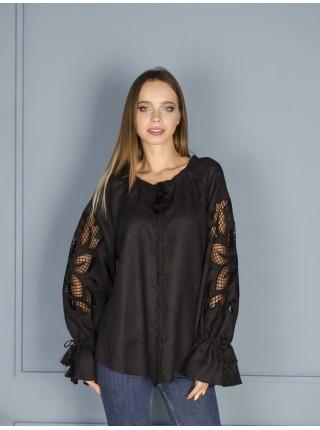 Елегантна жіноча вишиванка, чорна