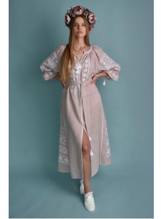 Сукня рожева з білим орнаментом