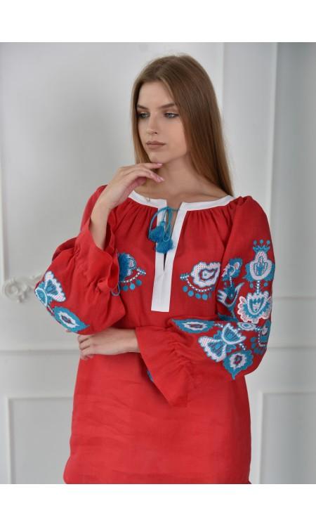 Лляна блуза - туніка, червона