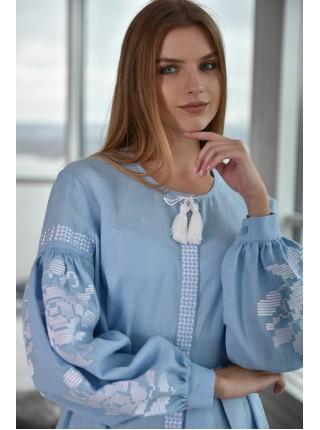 Сукня-вишиванка  блакитна з білою вишивкою