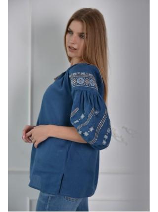 Синя лляна вишиванка