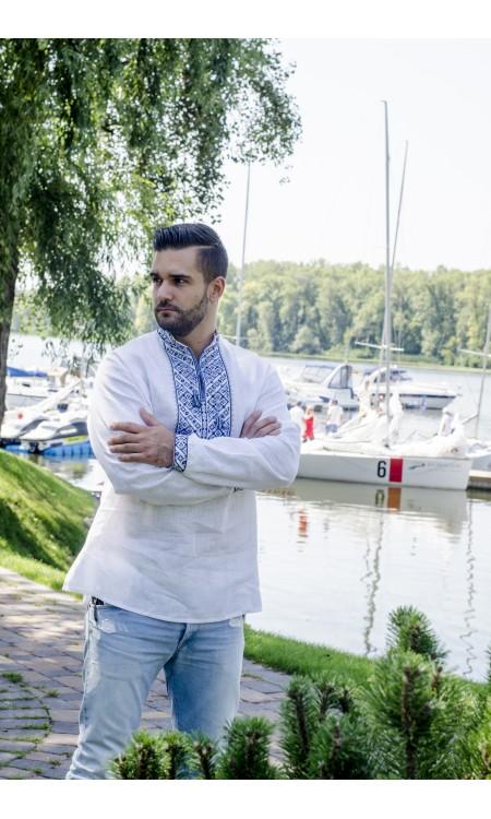 Чоловіча вишиванка біла з синьою вишивкою