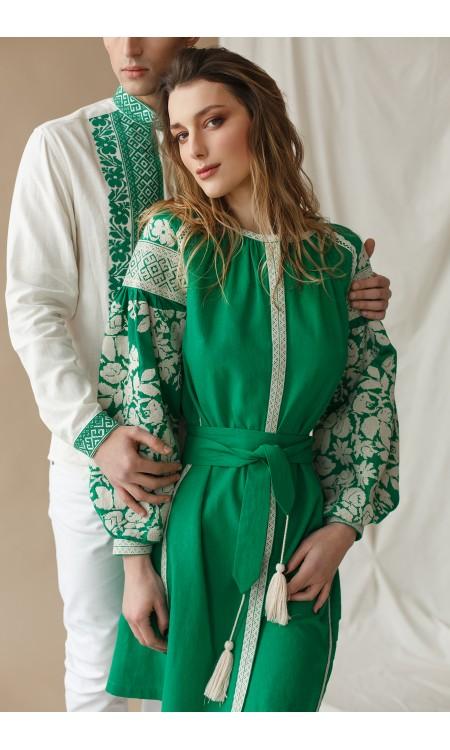 Чоловіча вишиванка, біла з зеленою вишивкою
