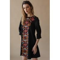 Сукня вишита із квітковим візерунком, чорна