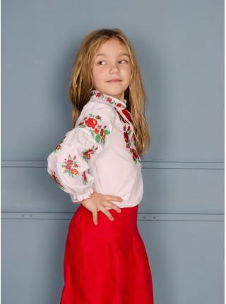 Вишиванка для дівчинки, червоно-зелена вишивка