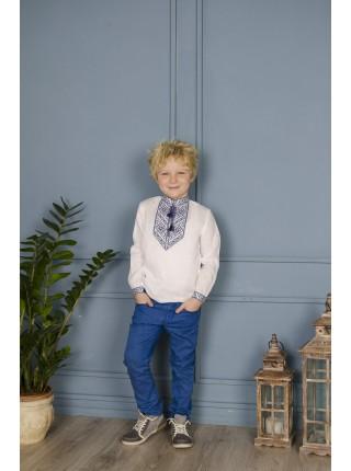 Вишиванка для хлопчика з синьою вишивкою