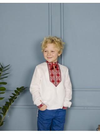 Вишиванка для хлопчика з чорно-червоною вишивкою